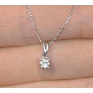 Beautiful white round diamond necklace pendant sol